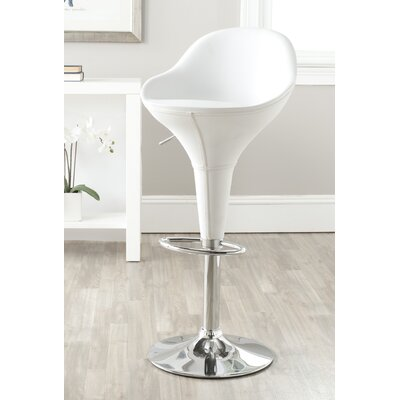 Adjustable Height Swivel Bar Stool with Cushion Color: White
