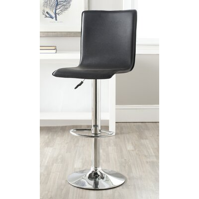 Magda Adjustable Height Swivel Bar Stool Upholstery: Black