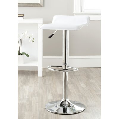 Sheba Adjustable Height Swivel Bar Stool Upholstery: White