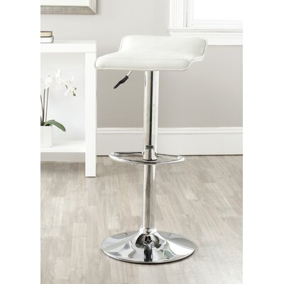 Kemonti Adjustable Height Swivel Bar Stool Upholstery: White