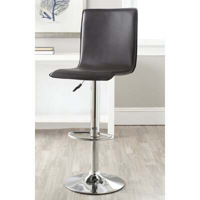 Magda Adjustable Height Swivel Bar Stool Upholstery: Brown