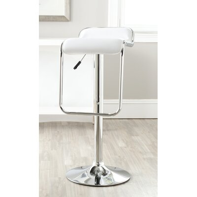 Taronda Adjustable Height Swivel Bar Stool Upholstery: White