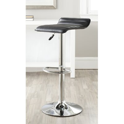 Kemonti Adjustable Height Swivel Bar Stool Upholstery: Black