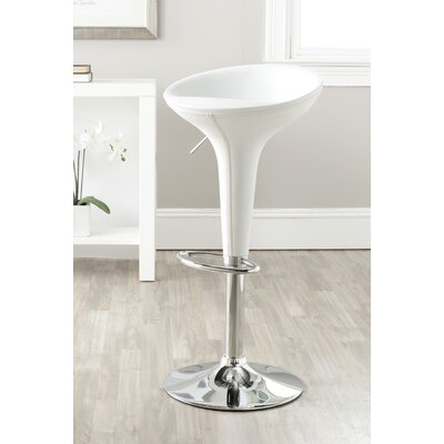 Shedrack Adjustable Height Swivel Bar Stool Color: White