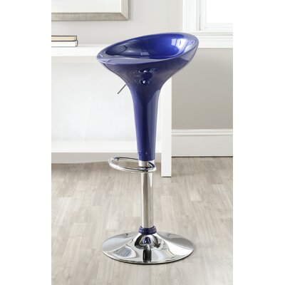Adjustable Height Swivel Bar Stool Upholstery: Navy Blue