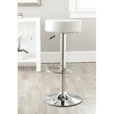 Jude Adjustable Height Swivel Bar Stool Color: White