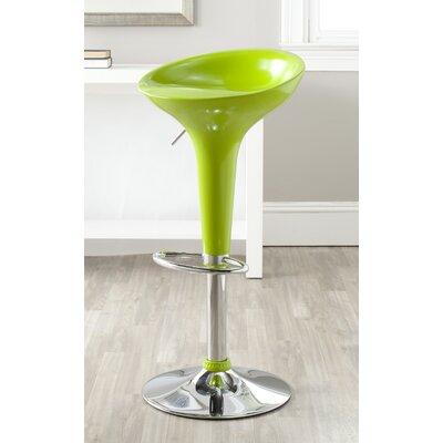 Adjustable Height Swivel Bar Stool Upholstery: Lime Green