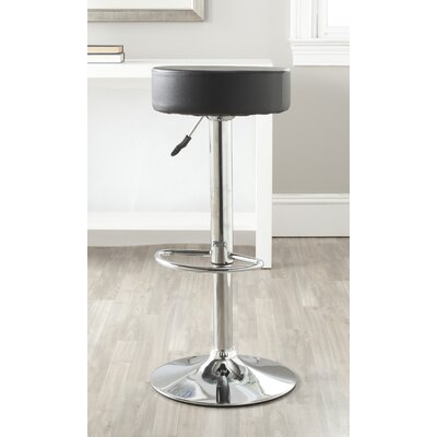 Jude Adjustable Height Swivel Bar Stool Finish: Black