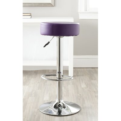 Jude Adjustable Height Swivel Bar Stool Finish: Purple