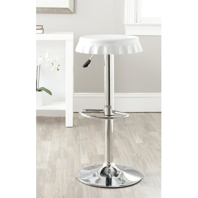 Bunky Adjustable Height Swivel Bar Stool Upholstery: White