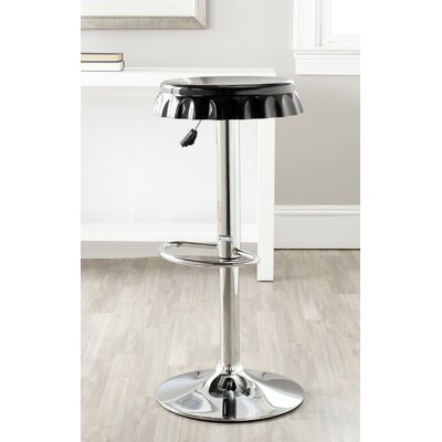 Bunky Adjustable Height Swivel Bar Stool Upholstery: Black
