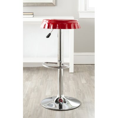 Bunky Adjustable Height Swivel Bar Stool Upholstery: Red