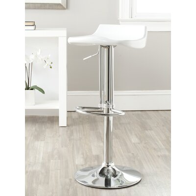 Avish Adjustable Height Swivel Bar Stool Upholstery: White