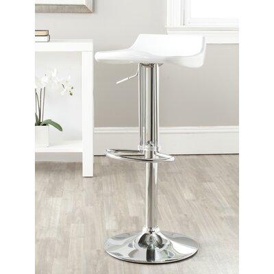 Avish Adjustable Height Swivel Bar Stool Upholstery: White