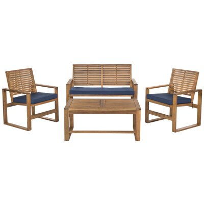 Ozark 4 Piece Lounge Seating Group - Finish: Brown/Navy