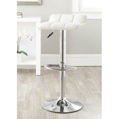 Lamita Adjustable Height Swivel Bar Stool Upholstery: White