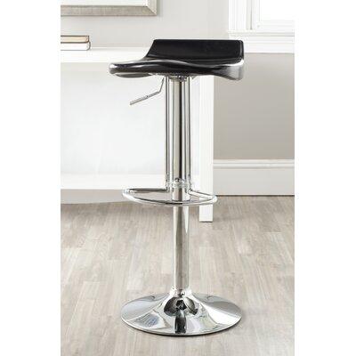 Avish Adjustable Height Swivel Bar Stool Upholstery: Black