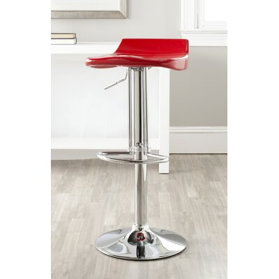 Avish Adjustable Height Swivel Bar Stool Upholstery: Red