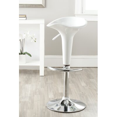 Jataya Adjustable Height Swivel Bar Stool Finish: White