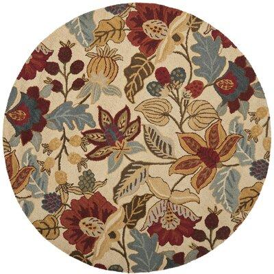 Jardin Beige/Multi Floral Area Rug Rug Size: Round 6