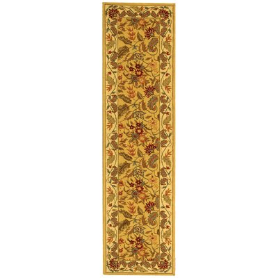 Helena Missy Floral Hand Hooked Wool Ivory/Red Area Rug Rug Size: Runner 26 x 10