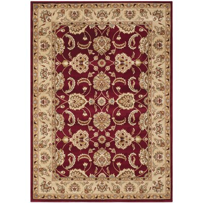 Majesty Red/Camel Area Rug Rug Size: 53 x 76