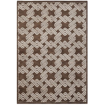 Mosaic Brown / Creme Geometric Rug Rug Size: Rectangle 5 x 8