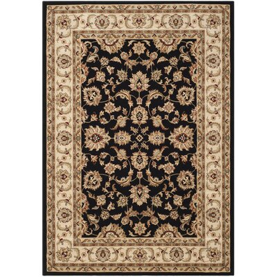 Majesty Black/Creme Area Rug Rug Size: 53 x 76