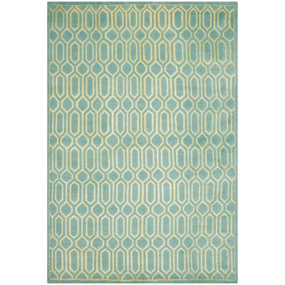 Mosaic Aqua / Light Gold Rug Rug Size: 4 x 6