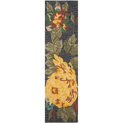 Jardin Black/Multi Daisy Area Rug Rug Size: Rectangle 4 x 6