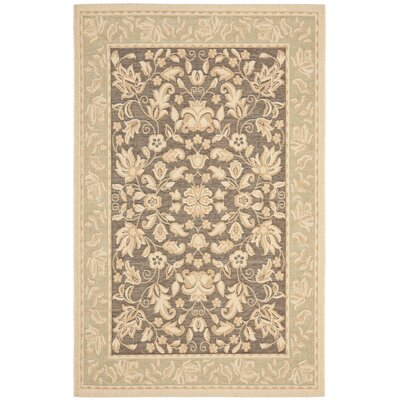 Beach House Dark Brown/Green Indoor/Outdoor Area Rug Rug Size: 53 x 77