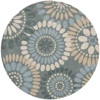 Jardin Grey & Blue Floral Area Rug Rug Size: Round 6