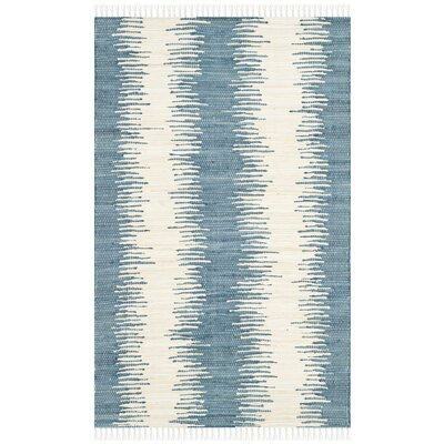 Portsmouth Hand Woven Cotton Blue/Ivory Area Rug Rug Size: 26 x 4