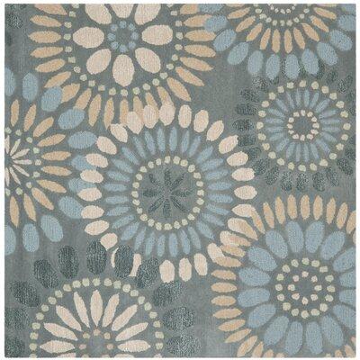Jardin Grey & Blue Floral Area Rug Rug Size: Square 6