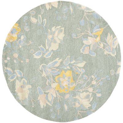 Jardin Silver / Blue Floral Rug Rug Size: Round 6