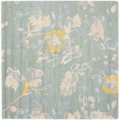 Jardin Silver / Blue Floral Rug Rug Size: Square 6