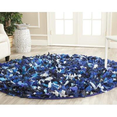 Shag Blue & Black Area Rug Rug Size: Round 6'