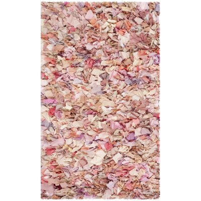 Messiah Ivory/Pink Shag Area Rug Rug Size: Rectangle 26 x 4