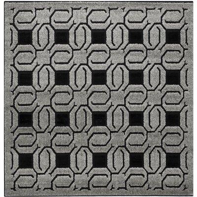 York Grey / Black Rug Rug Size: Square 6 x 6