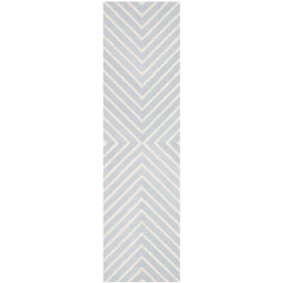 Weybridge Hand Woven Wool Light Blue/Ivory Area Rug Rug Size: Runner 26 x 14