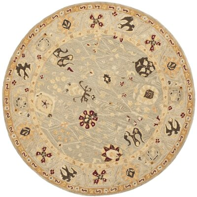 Anatolia Grey Blue/Mint Outdoor Area Rug Rug Size: Round 6