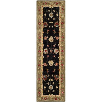 Anatolia Black/Green Area Rug Rug Size: Runner 23 x 8