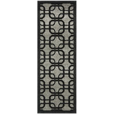 York Gray/ Black Area Rug Rug Size: Runner 2'4