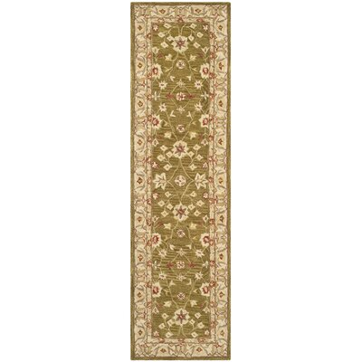 Anatolia Hand-Tufted Yellow/Green Area Rug Rug Size: Runner 23 x 8