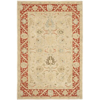 Anatolia Taupe/Red Indoor Area Rug Rug Size: 3 x 5