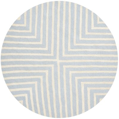 Weybridge Hand Woven Wool Light Blue/Ivory Area Rug Rug Size: Round 4