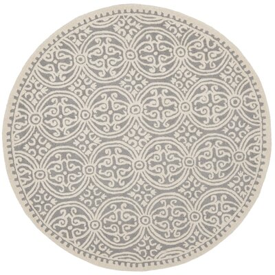 Landen Hand-Tufted Silver/Ivory Area Rug Rug Size: Round 6