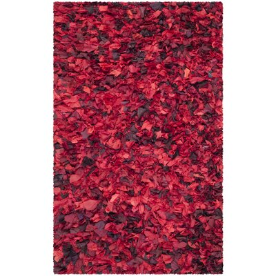 Red Shag Rug Rug Size: 4' x 6'