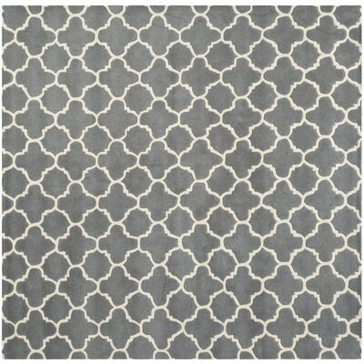 Averett Hand-Tufted Wool Dark Gray/Ivory Area Rug Rug Size: Square 7