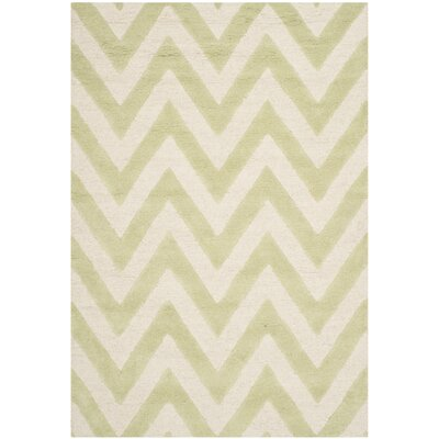 Charlenne Hand-Tufted Light Green / Ivory Area Rug Rug Size: 6 x 9